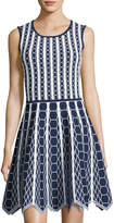 Pink Tartan Hexagon-Knit Scallop-Hem Fit & Flare Dress, Blue/White