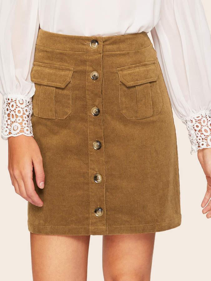 1533a2d1f6 Corduroy Button Front Skirt - ShopStyle