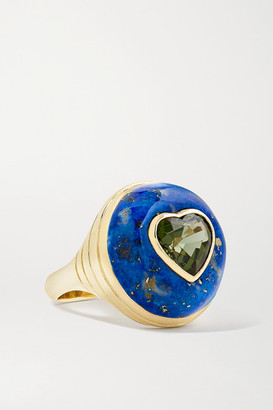 Retrouvaí Lollipop Small 14-karat Gold, Lapis Lazuli And Tourmaline Ring - 7