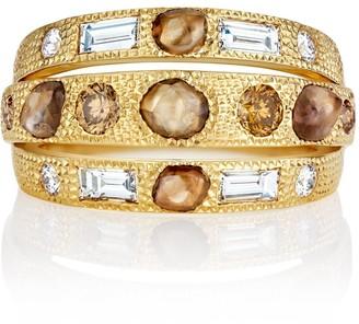 De Beers 18kt yellow gold Talisman three-line diamond ring