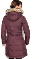 DKNY Hooded Faux-Fur-Trim Quilted Long-Length Puffer Coat