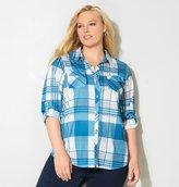 Avenue Blue Button Pocket Plaid Knit Shirt