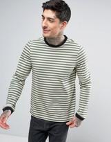 Farah Ally Stripe Long Sleeve Top Slim Fit in Green
