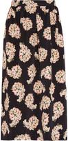 Mother of Pearl Romily Floral-print Silk-satin Midi Skirt - Black