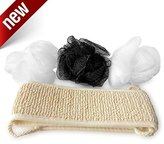 SuperiorMaker Loofah and Exfoliating Body and Back Scrubber Spa Set - 3 Vibrant Colored Hand Sized Body Luffa and 1 Modern Long Washcloth and Body Scrubber with Handles For Healthier Skin