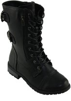 Forever Women's Mango-61 Round-toe Lace-up Low Heel Combat style Boots (8, )