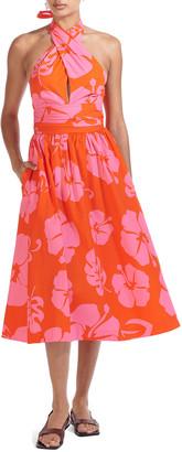 STAUD Moana Halter-Neck Poplin Midi Dress