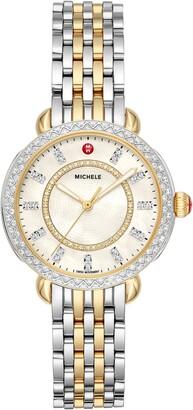 Michele Sidney Classic Diamond Watch Head & Interchangeable Bracelet, 33mm