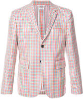 Thom Browne Relaxed Sport Coat Shell In Hopsack Check Double-Woven Wool Crepe