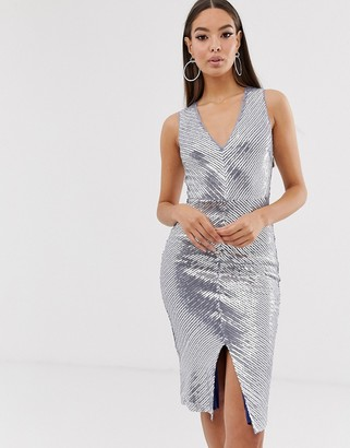 The Girlcode chevron panel midi dress in silver