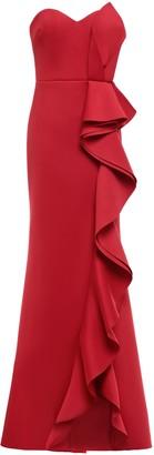 Badgley Mischka Strapless Ruffled Scuba Gown