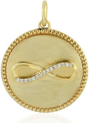 Artisan 14Kt Yellow Gold Diamond Infinity Symbol Circle Pendant Jewelry