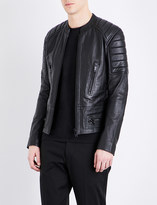 Sandro Stand collar leather jacket