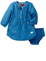 7 For All Mankind Layette Dress & Bloomer (Baby Girls)