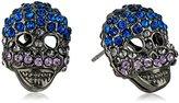 "Betsey Johnson Garden of Excess"" Pave Skull Stud Earring"