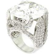 Alljoy Spectacular Diva Large Cocktail Sterlign Silver Ring w/White CZs, 9