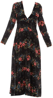 RED Valentino Plunging Floral Printed Dress
