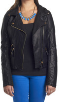 Members Only Faux Fur Lined Moto Jacket Black