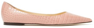 Jimmy Choo Love Point-toe Crocodile-effect Leather Flats - Light Pink