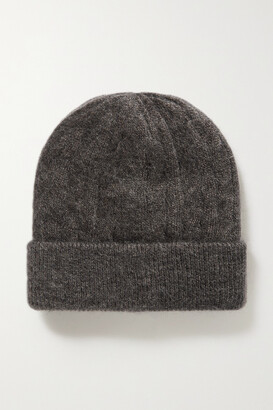 Brunello Cucinelli Bead-embellished Metallic Cable-knit Beanie - Gray