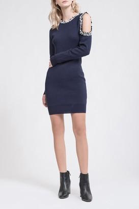 J.o.a. Contrast Beaded Cold Shoulder Mini Dress