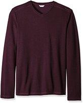 Calvin Klein Men's Solid Ribbed Long Sleeve V-Neck Shirt