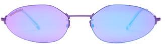 Balenciaga Oval Reflective Metal Sunglasses - Womens - Purple