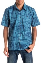 Quiksilver Men's Angler Regular Fit Print Camp Shirt