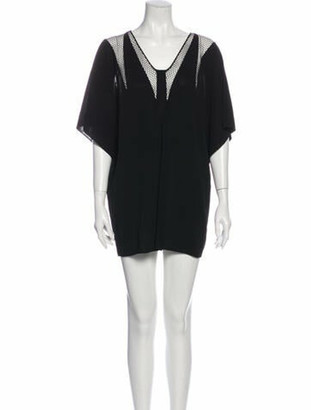 Vionnet V-Neck Mini Dress Black