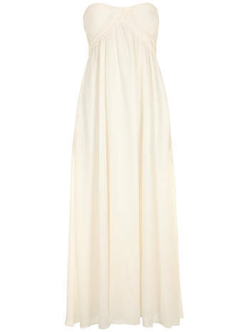 Alice & You Cream ruched bandeau maxi dress