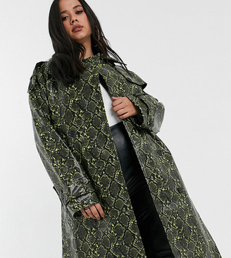 Asos DESIGN Curve snake trench coat with statement belt-Green