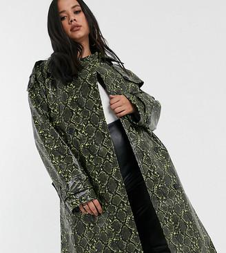 Asos DESIGN Curve snake trench coat with statement belt