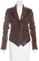 Thomas Wylde Leather-Trimmed Structured Blazer