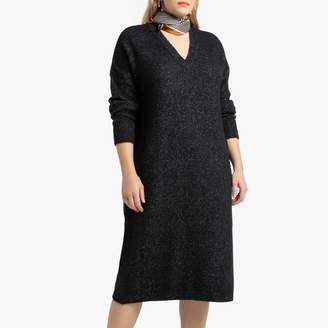 La Redoute Collections Plus Long-Sleeved Jumper Dress with V-Neck