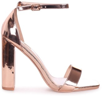 Linzi TORI - Rose Gold Chrome Square Toe Barely There Block Heel