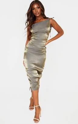 PrettyLittleThing Khaki Metallic Shimmer Cowl Neck Tie Strap Midi Dress