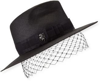 Philip Treacy Low Pinched Trilby w/ Veiling