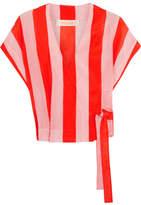 Diane von Furstenberg Striped Cotton And Silk-blend Wrap Top - Pastel pink