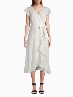 Calvin Klein Striped V-Neck Flutter Sleeve Belted Ruffle Dress