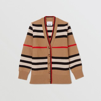 Burberry Childrens Icon Stripe Wool Cashmere Cardigan