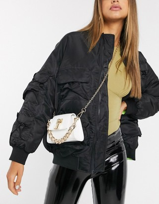 Asos DESIGN bag with padlock detail and chunky chain in white patent