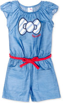 Hello Kitty Belted Cotton Romper, Toddler and Little Girls (2T-6X)