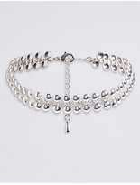 M&S Collection Silver Plated Hammered Choker Necklace