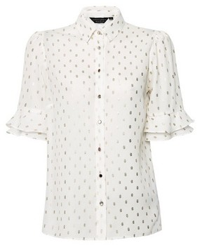Dorothy Perkins Womens Ivory And Gold Ruffle Sleeve Shirt, Gold