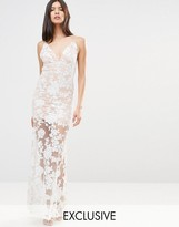 Club L Cami Strap Floral Sequin Fishtail Backless Maxi Dress