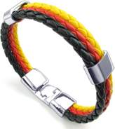 TEMEGO Jewelry Mens Braided Leather 3 Tone Bangle Cuff Bracelet with Stainless Steel Clasp, Black Orange Yellow - 9""