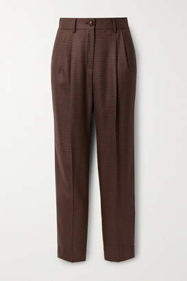 BLAZÉ MILANO Voyager Banker Checked Wool Straight-leg Pants - Brown
