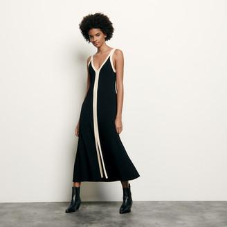 Sandro Long two-tone ribbed knit dress