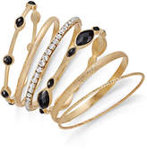 INC International Concepts Gold-Tone 6-Pc. Set Crystal & Jet Stone Bangle Bracelets, Created for Macy's