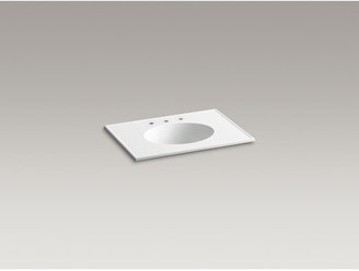 Kohler Ceramic Impressions 31 In. Rectangular Vanity-Top Bathroom Sink with 8 In. Widespread Faucet Holes Top Finish: White Impressions